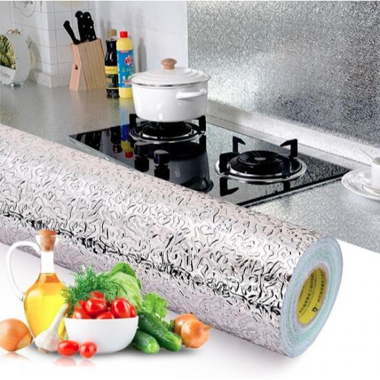 Folie de aluminiu autoadeziva bucatarie 60 x 200 cm, argintiu