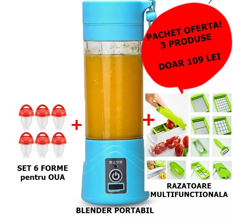 PACHET: RAZATOARE multifunctionala + SET 6 forme silicon pentru oua + BLENDER portabil